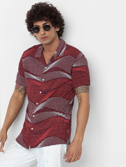 Red Short Sleeves Abstract Print Shirt