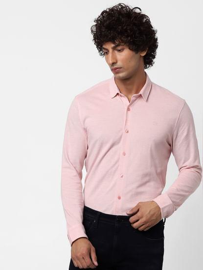 Pink Full Sleeves Regular Fit Jersey Shirt