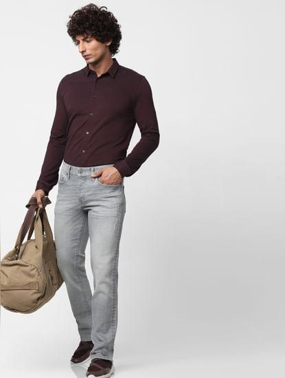 Maroon Full Sleeves Regular Fit Jersey Shirt