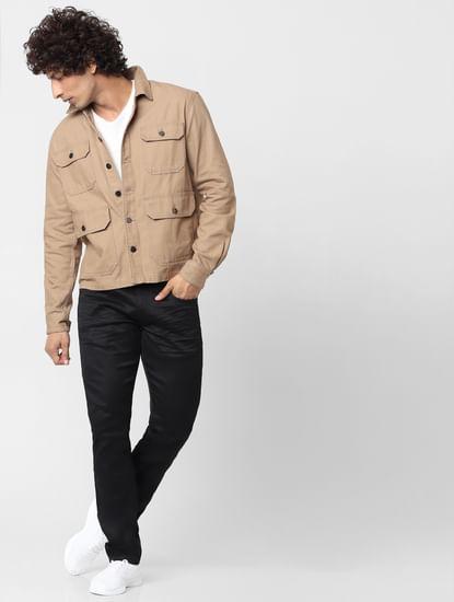 Beige Full Sleeves Multi Pocket Overshirt