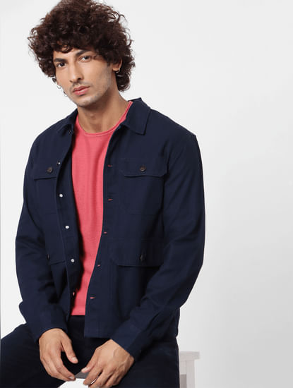 Dark Blue  Full Sleeves Multi Pocket Overshirt