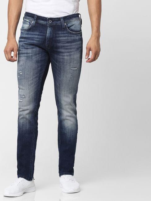 Dark Blue Mid Rise Liam Skinny Fit Distressed Jeans