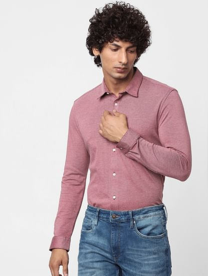 Pink Full Sleeves Slim Fit Knit Shirt