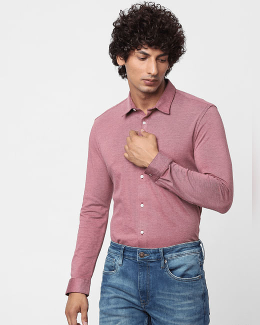 Pink Full Sleeves Slim Fit Knit Shirt
