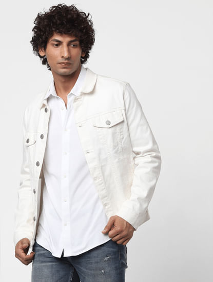 White Full Sleeves Slim Fit Knit Shirt