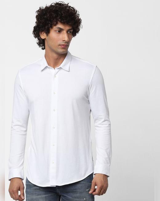 White Full Sleeves Slim Fit Knit Shirt