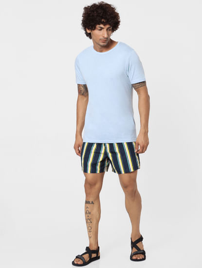 Navy Blue Mid Rise Striped Swimshorts