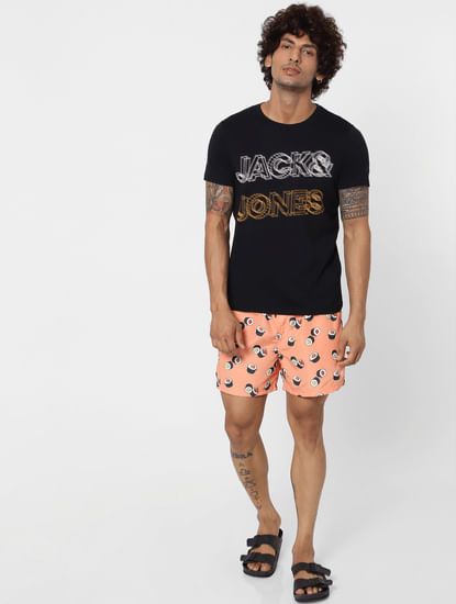Peach Mid Rise All Over Print Swimshorts