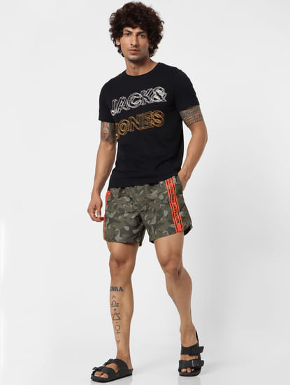 Green Mid Rise Camo Tape Detail Swimshorts