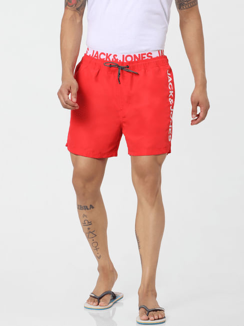 Red Mid Rise Logo Print Drawstring Swimshorts