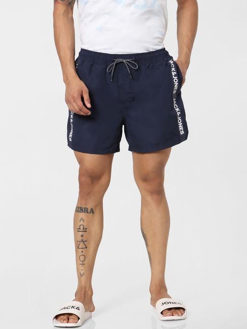 Navy Blue Mid Rise Logo Print Tape Detail Drawstring Swimshorts