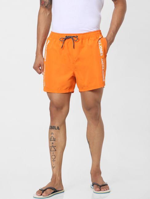 Orange Mid Rise Logo Print Tape Detail Drawstring Swimshorts