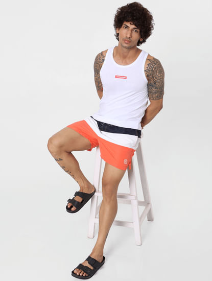 Coral Mid Rise Colourblocked Swimshorts