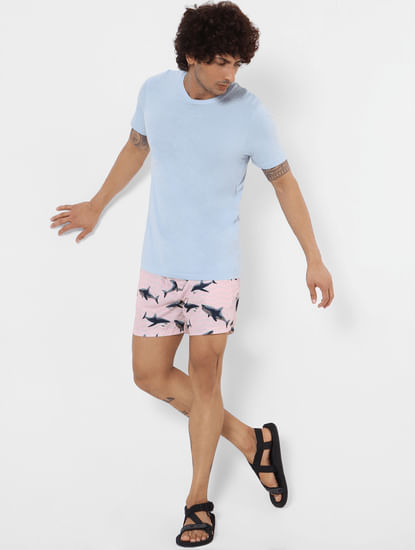 Pink Mid Rise All Over Print Swimshorts