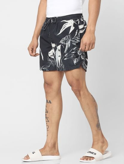 Black Mid Rise All Over Print Swimshorts