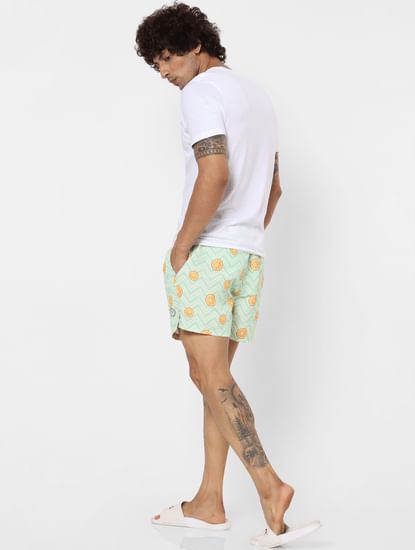 Green Mid Rise All Over Print Swimshorts