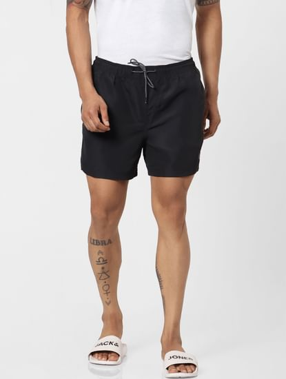 Black Mid Rise Drawstring Swimshorts