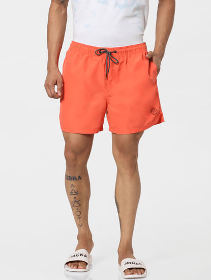 Orange Mid Rise Drawstring Swimshorts