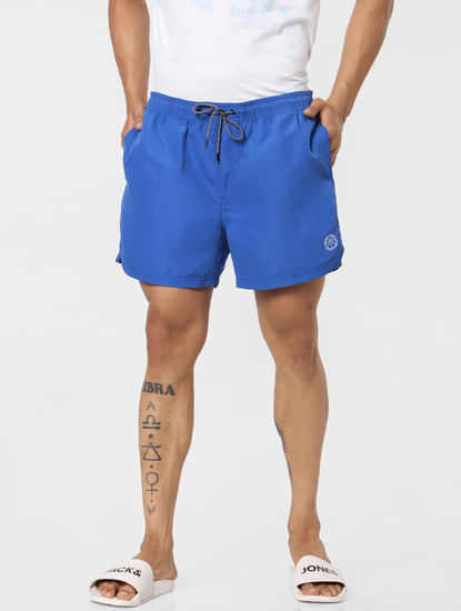 Blue Mid Rise Drawstring Swimshorts