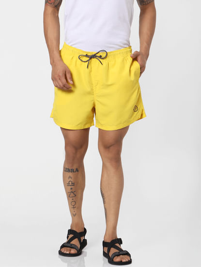 Yellow Mid Rise Drawstring Swimshorts