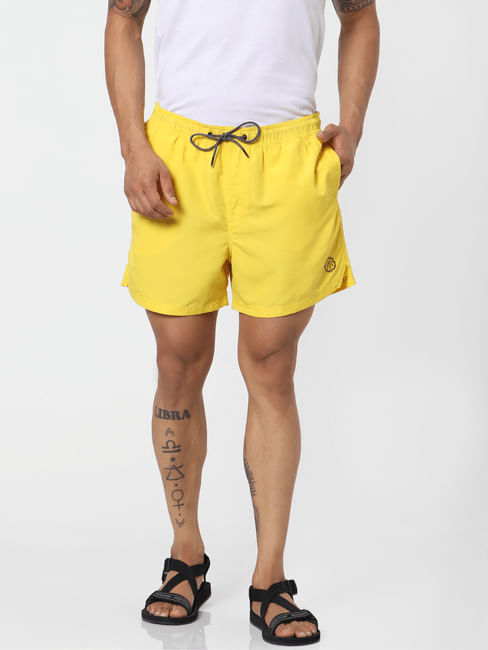 Yellow Mid Rise Drawstring Swimshorts