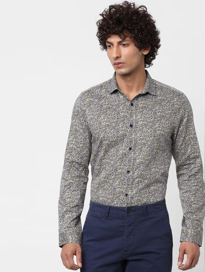 Navy Blue Full Sleeves All Over Print Slim Fit Shirt