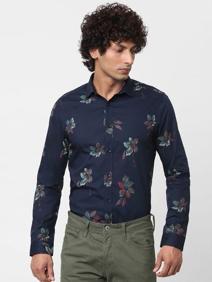 Navy Blue Full Sleeves Floral Print Shirt