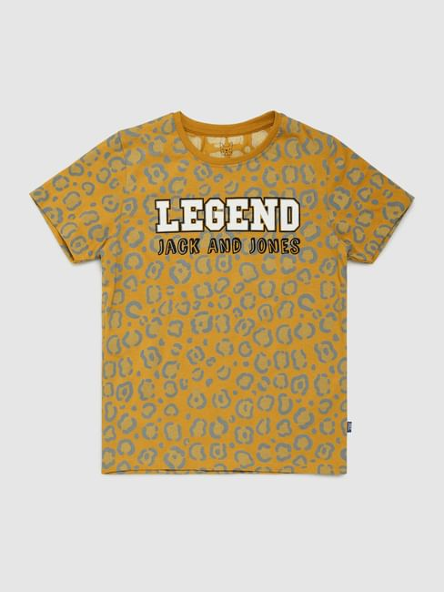 Boys Mustard Printed Crew Neck T-shirt