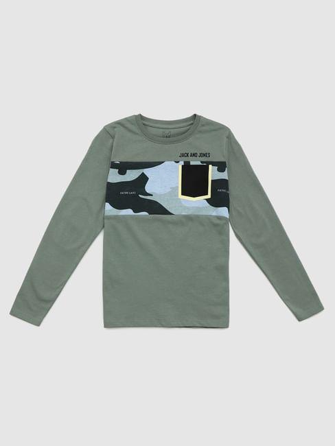 Boys Green Camo Patch Crew Neck T-shirt