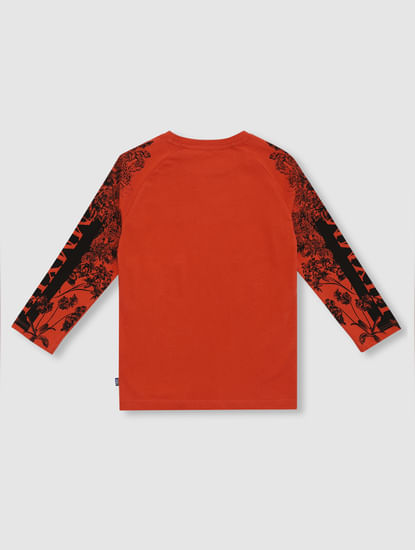 Junior Red Printed Crew Neck T-shirt
