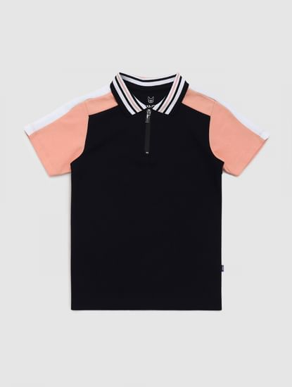 Junior Navy Blue Colourblocked Polo T-shirt