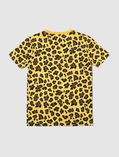 Junior Yellow Animal Print Crew Neck T-shirt