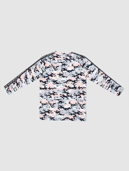 Junior White Camo Print Crew Neck T-shirt