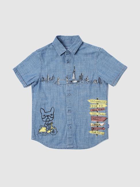 Boys Blue Printed Short Sleeves Shirt