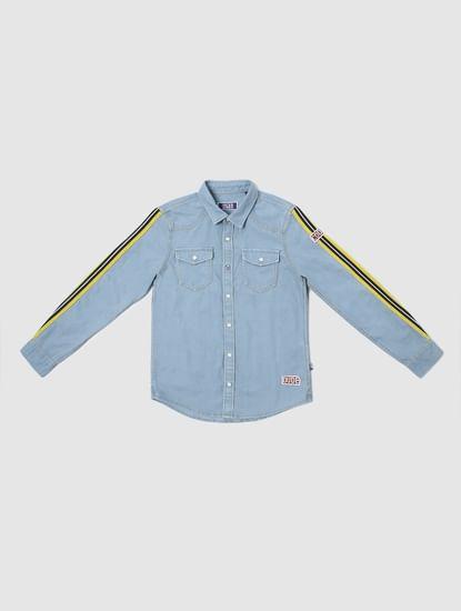 Boys Blue Tape Detail Denim Shirt