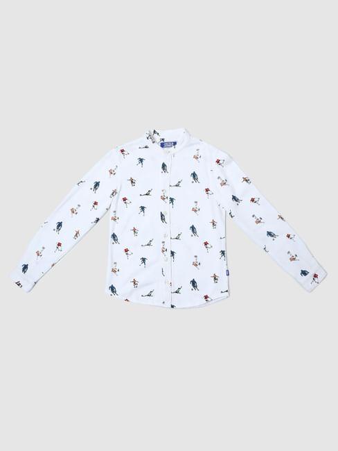 Boys White All Over Print Shirt