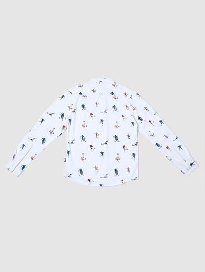 Junior White All Over Print Shirt