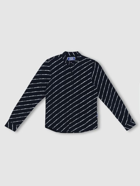 Boys Navy Blue Logo Print Full Sleeves Shirt