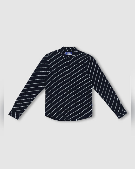 Junior Navy Blue Logo Print Full Sleeves Shirt