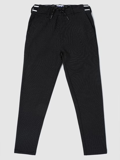 Junior Black Low Rise Striped Slim Pants