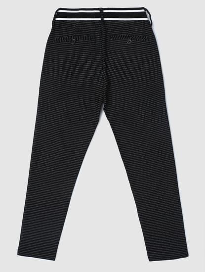 Junior Black Low Rise Striped Slim Pants