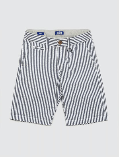 Boys Blue Mid Rise Striped Shorts
