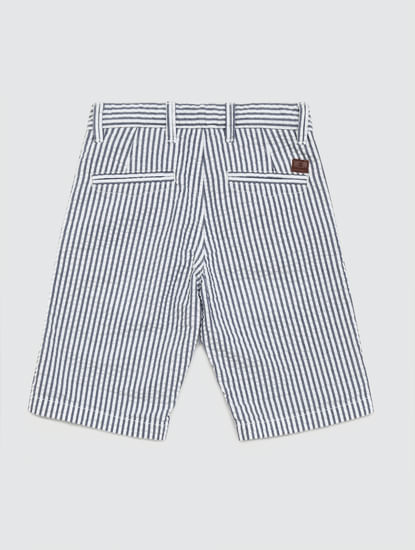 Junior Blue Mid Rise Striped Shorts