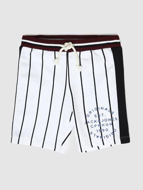 Boys White Mid Rise Baseball Shorts
