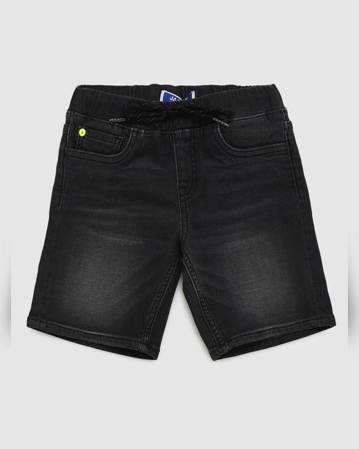 Boys Black Mid Rise Drawstring Denim Shorts