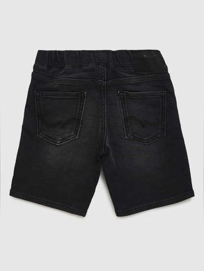 Junior Black Mid Rise Drawstring Denim Shorts