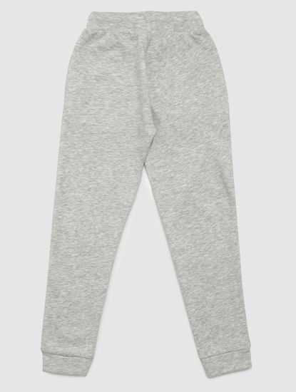 Junior Grey Mid Rise Logo Print Sweatpants
