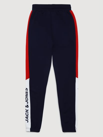 Junior Navy Blue Mid Rise Tape Detail Sweatpants