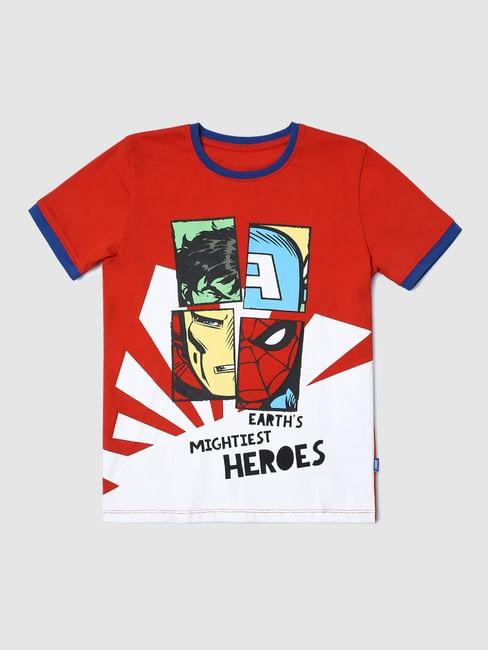 Boys X Marvel Red Avengers Print T-shirt