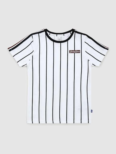 Boys White Striped Baseball T-shirt